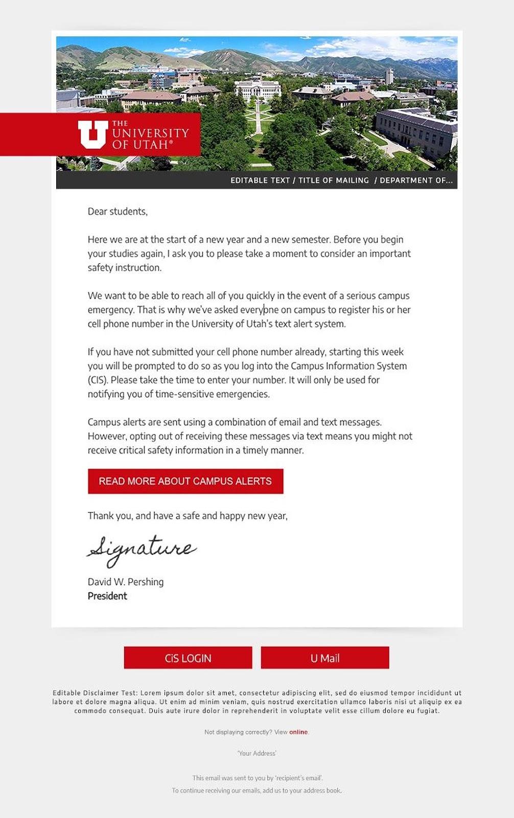 University of Utah email example