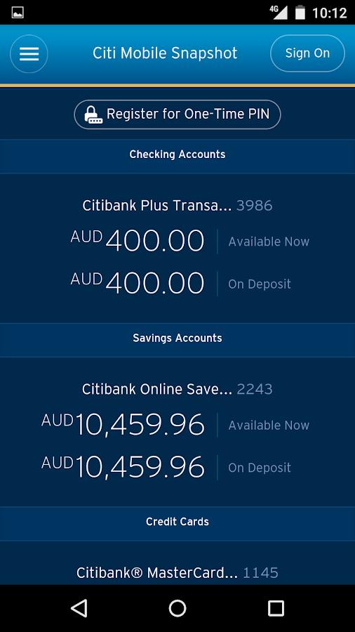 Citibank Australia- screenshot