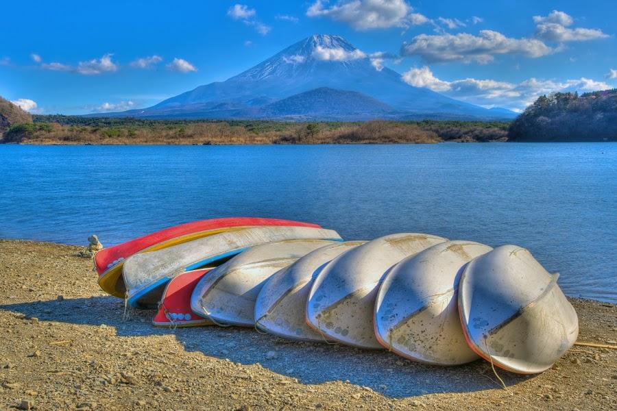 Lake Shojiko and Mount Fuji, Japan by Paul Atkinson - Landscapes Travel ( japan, volcano, mount, prefecture, boats, yamanashi, fuji, lake, travel, landscape )