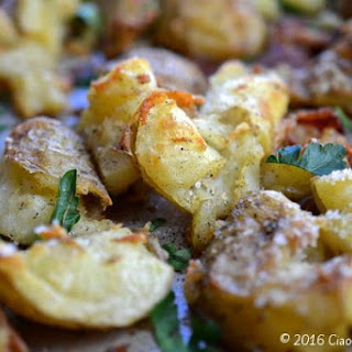 Smashed Potatoes with Bacon & Herbs.
