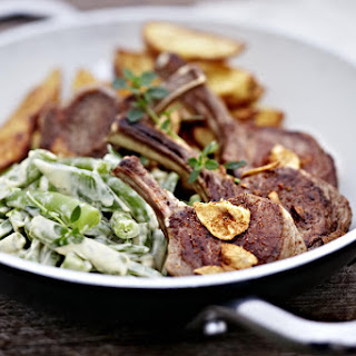 Lamb Chops with Creamy Green Beans and Potato Wedges.