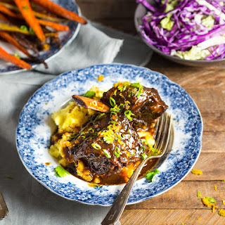 Braised Chinese-Style Short Ribs With Soy, Orange, and 5-Spice Powder.