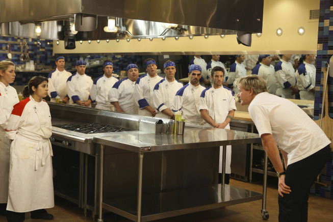 Photo: HELL'S KITCHEN: Chef Ramsay gives both teams a pep talk before dinner service on the second part of the two-night Season 10 premiere of  HELL'S KITCHEN airing Monday, June 4 (8:00-9:00 PM ET/PT) and Tuesday, June 5 (8:00-9:00 PM ET/PT) on FOX. ©2012 Fox Broadcasting Co. Cr: Patrick Wymore/FOX