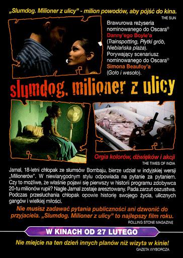Tył ulotki filmu 'Slumdog. Milioner Z Ulicy'