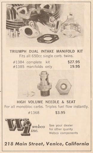 Kit pour triumph, deux carburateurs à la place d'un seul. Kit Webco présenté par Machines et Moteurs.
