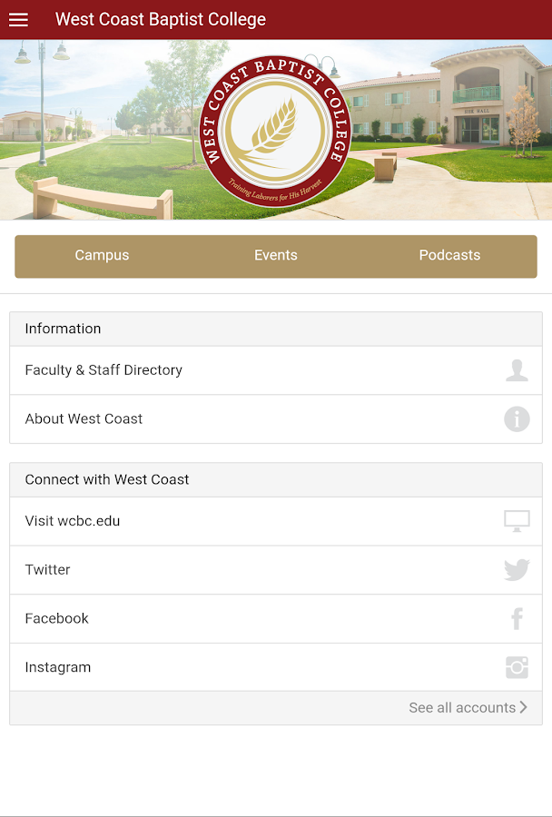 West Coast Baptist College- screenshot