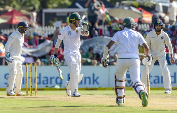 Faf du Plessis of South Africa warns teammate Hashim Amla to stay and not run in reaction to a short ball during day 1 of the 2nd Sunfoil Test match between South Africa and India at SuperSport Park on January 13, 2018 in Pretoria, South Africa.
