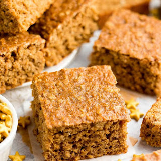 Healthy Gingerbread Oatmeal Snack Cake.