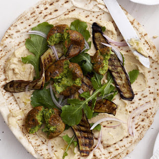 Falafel Wraps with Grilled Eggplant