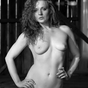 Beauty in the Old Barn by Big Pikey - Nudes & Boudoir Artistic Nude ( beautiful redhead nude, beautiful girl nude, monochrome nude, black and white nude, artistic beautiful nude,  )