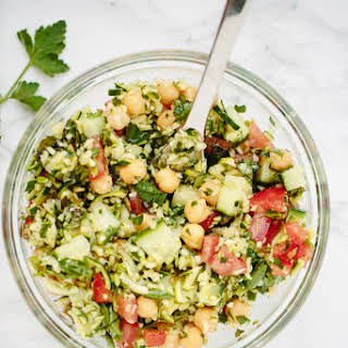 Zucchini Rice Tabbouleh with Chickpeas.