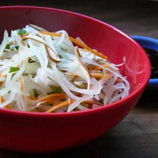 Vegan Green Papaya Salad with Thai Basil.