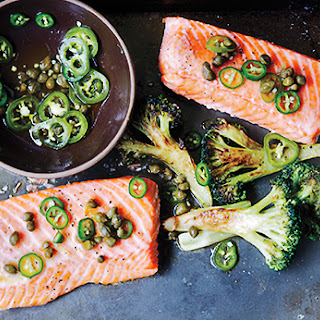 Roast Salmon and Broccoli with Chile-Caper Vinaigrette