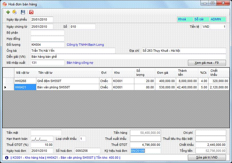 Hóa đơn bán hàng phần mềm kế toán 3tsoft