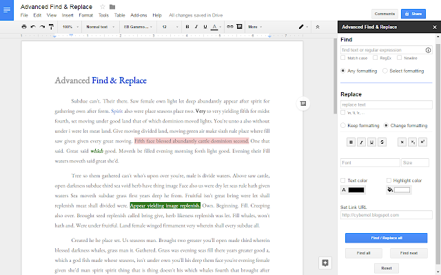 Advanced Find & Replace - Google Docs add-on