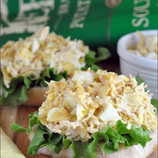 Open-Faced Tuna and Egg Salad with Kettle Chips.