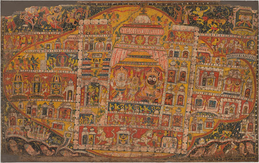Cosmic Geography of Puri Temple. A Sankhalavi Pata depicting the sacred geography of Puri
