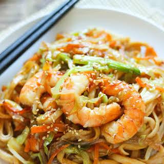 Stir-Fried Udon with Shrimp.