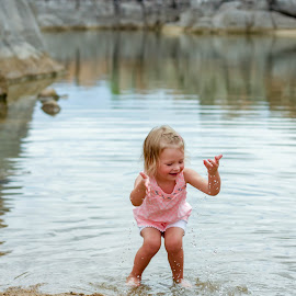 Water, Water, Water by Beth Staub - People Family ( water, child, sand, girl, play, baby girl, summer, fun, rocks )