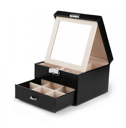 Svart Smyckeslåda/Juvelbox med spegel