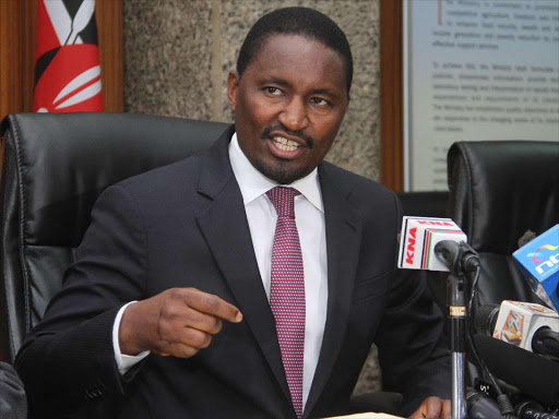 Former Agriculture CS Mwangi Kiunjuri at a past press conference.