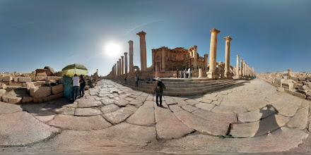 Photo: (Jerash 3 of 4) View in front of a huge public fountain (the building) along the colonnaded walk in Jerash: the-city-of-cool-things-you-never-knew-existed