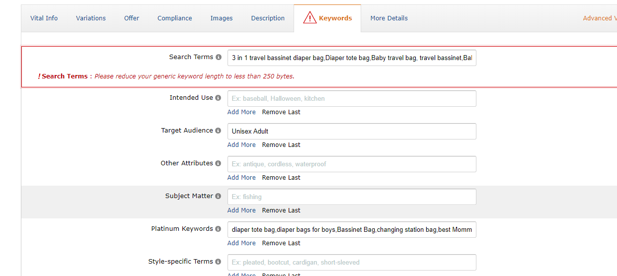 Adding Amazon search terms to your product listing
