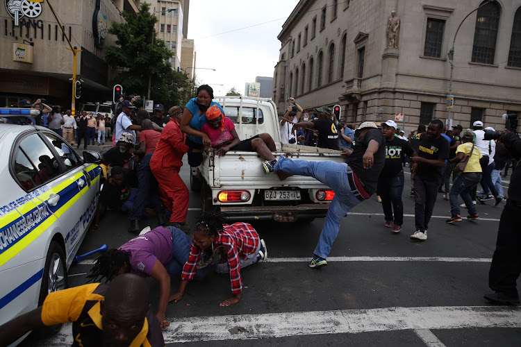 Clashes broke out outside Luthuli House in Johannesburg on 5 February 2018 between ANC and Black First Land First members.