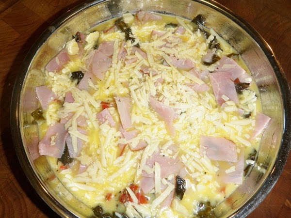 Lightly mix the eggs and egg whites, season with salt and pepper.  Pour...