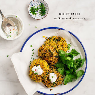 Millet Cakes with Carrots & Spinach.