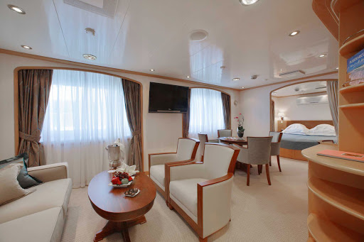 Seadream-Admiral-suite.jpg - SeaDream's Admiral Suite offers 375 square feet of comfort.