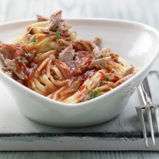 Spicy Tomato Tuna Pasta.