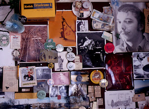 Photo: Bulleting Board at the old house, accumulated photos and things for 25 years.