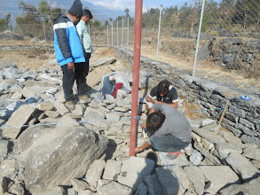 Photo: Pillars being inserted to lay the foundation for the structure