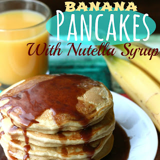 Peanut Butter Banana Pancakes with Nutella Syrup.