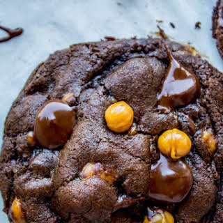 Double Chocolate Cookies with Caramel Bits.