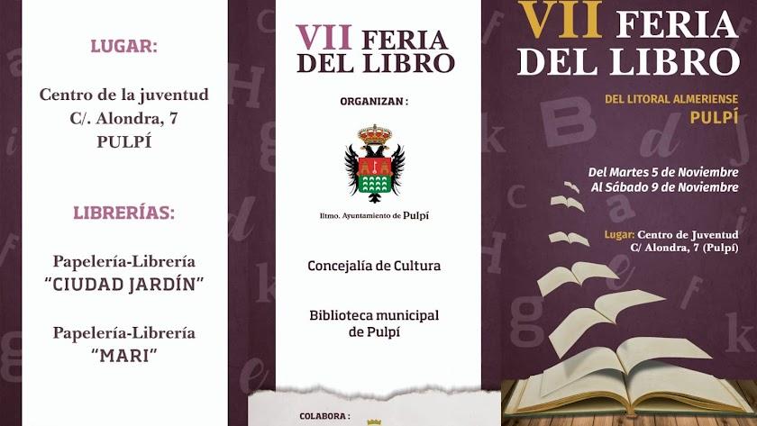 Cartel anunciador de la Feria del Libro del Litoral Almeriense de Pulpí.