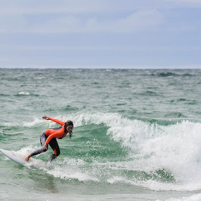 Surfing by Denis Sinoussi - Sports & Fitness Surfing ( clouds, skyline, girl, waves, board, surf,  )