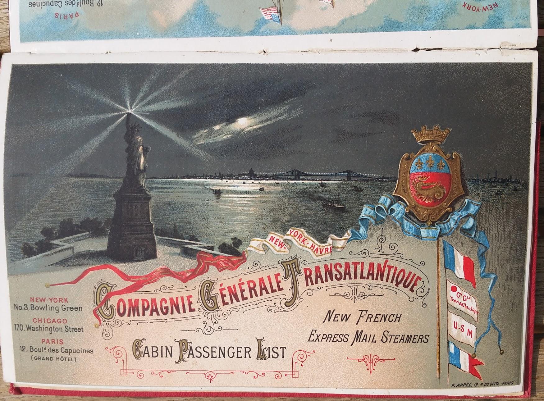 Compagnie Generale Transatlantique, New York - Le Havre - Paris, Passagierliste 1890