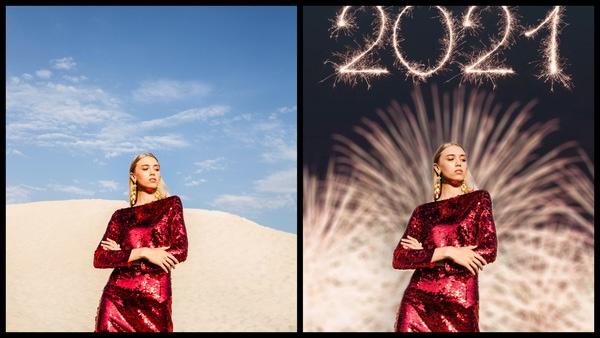 antes e depois da foto de uma mulher loira sendo que uma das fotos o fundo são fogos de artífico com 2021 escrito