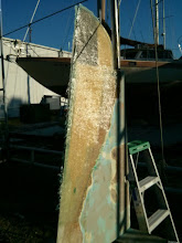 Photo: Starboard side outer layer 1708 cloth on rudder modifications