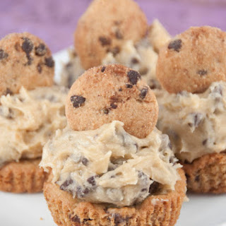 Chocolate Chip Cookie Cups with Cookie Dough Frosting.