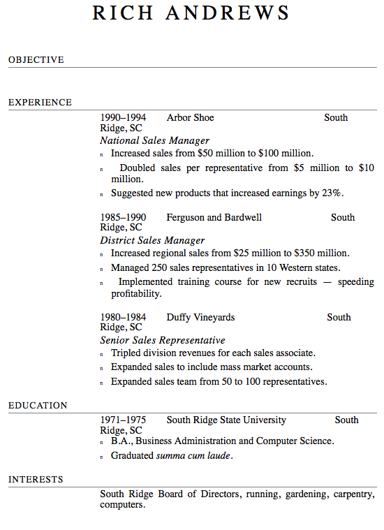 resume format screenshot