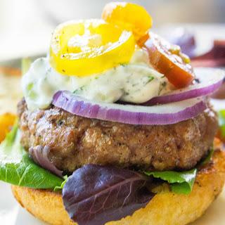 Greek Lamb Burgers with Tzatziki Sauce.