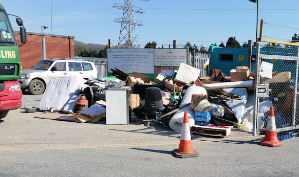 Rubbish Builds Up At Gates To Recycling Centres
