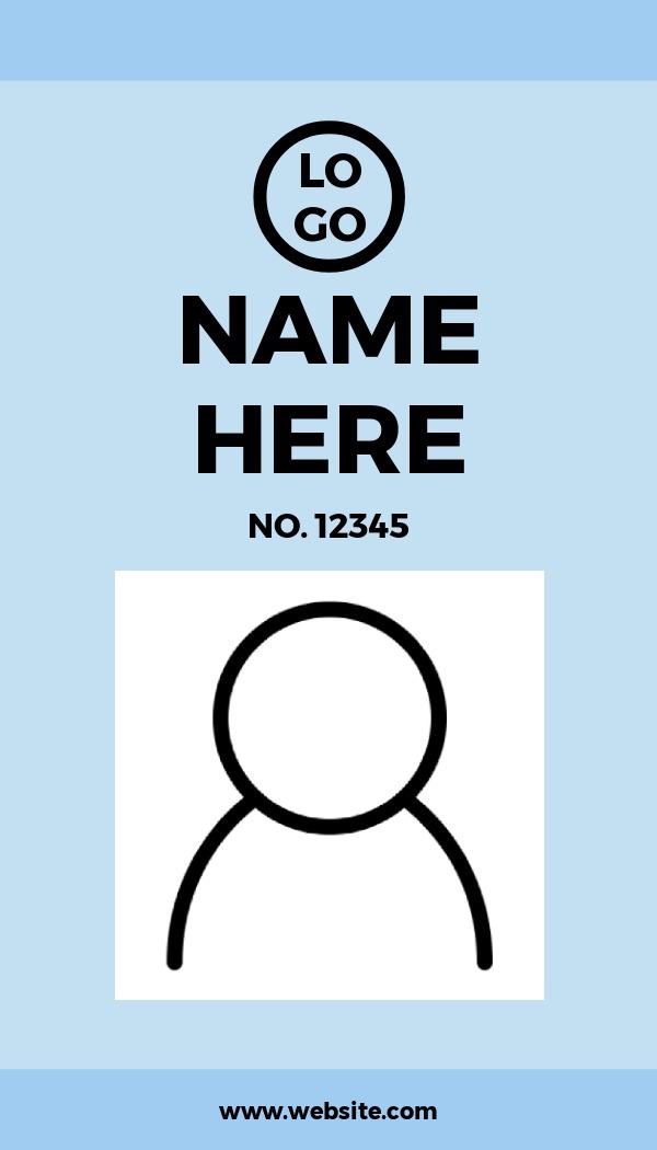 simple light blue id card template