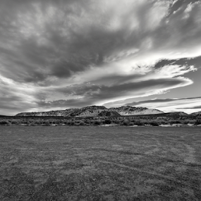 Abduction  by Michael Keel - Black & White Landscapes ( sierra wave, desert, grass, black and white, sierras, mono lake, lenticular clouds )
