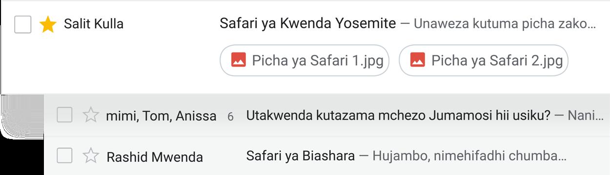 Chukua hatua ukiwa kwenye kikasha chako