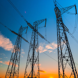 Electric pylons at the sunset by Stefan Sorean - Artistic Objects Industrial Objects ( pylon, line, transformer, industry, supply, high, transmission, power, cable, tower, energy, powerlines, sky, electric, electrical, equipment, electricity, technology, engineering, structure, voltage, wire, environment, blue, volt )