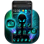 Neon Blue Alien Theme Launcher